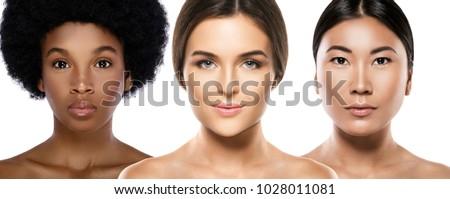 Multi-ethnic beauty. Different ethnicity women - Caucasian, African, Asian. #1028011081