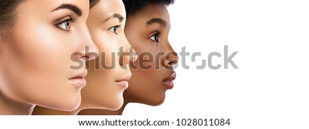 Multi-ethnic beauty. Different ethnicity women - Caucasian, African, Asian. - Shutterstock ID 1028011084