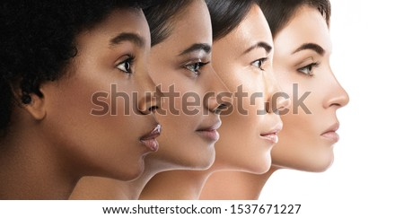 Photo of Multi-ethnic beauty. Different ethnicity women - Caucasian, African, Asian and Indian.