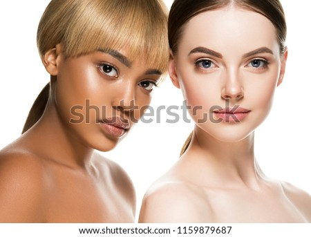 Multi-ethnic beauty two woman with dakr and white skin color female women portrait #1159879687