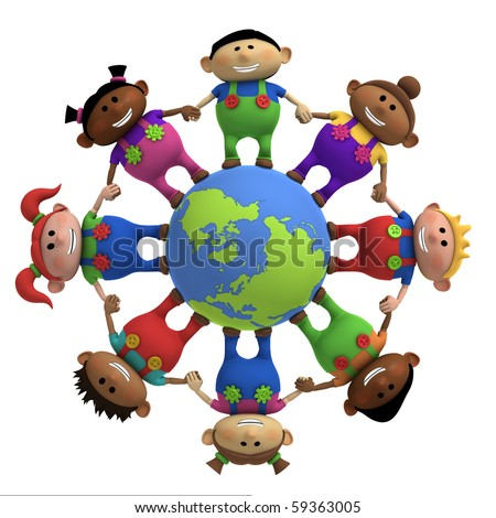 multi-ethnic cartoon kids holding hands around a globe -  3d rendering/illustration