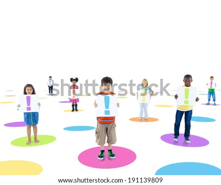 Multi-Ethnic Children Connected and Holding Placard with an Exclamation Symbol
