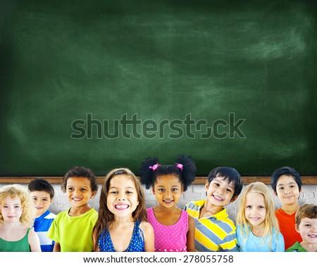 Multi-Ethnic Group of Children Empty Blackboard