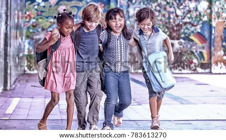 Multi ethnic group of children playing together. Success and integration concept. #783613270