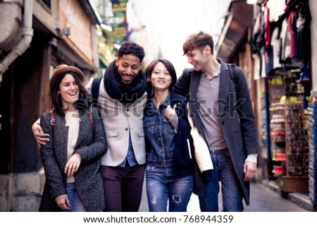 Multi-ethnic Group Of Friends Having Fun In Paris, Quartier Latin