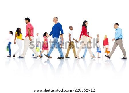 Multi-ethnic group of people walking #220552912