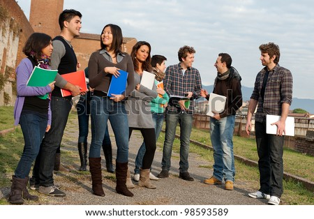 Multi-Ethnic Group of Students at park