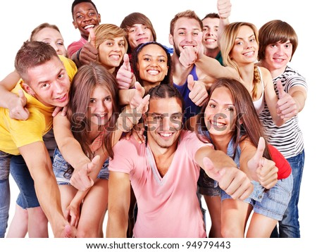 Multi-ethnic group people  Isolated. - stock photo