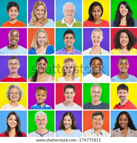 Multi-ethnic group with colorful background #174775811