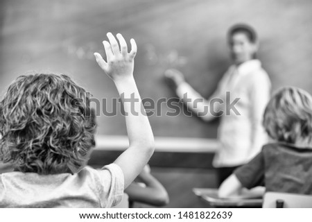 Multi ethnic primary classroom during a school lesson with female teacher. Boy raising hand