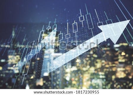 Photo of  Multi exposure of abstract financial diagram and upward arrow on blurry office buildings background, rise and breakthrough concept