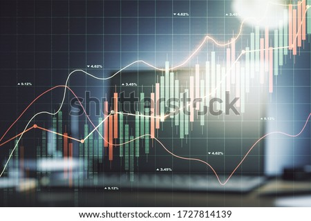 Multi exposure of abstract financial diagram on computer background, banking and accounting concept