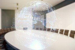 Multi exposure of abstract programming language hologram and world map on a modern furnished office interior background, artificial intelligence and neural networks concept
