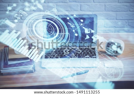 Multi exposure of business theme icons and table with computer background. Concept of success. #1491113255