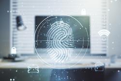 Multi exposure of creative fingerprint hologram on laptop background, personal biometric data concept