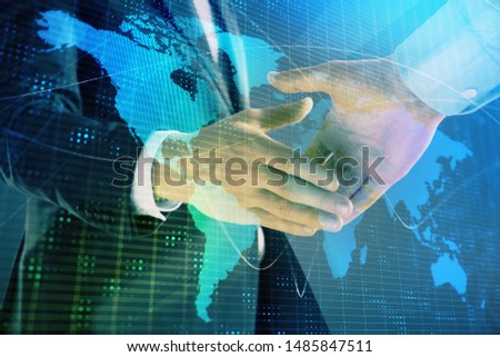 Multi exposure of world map on abstract background with two businessmen handshake. Concept of international business #1485847511