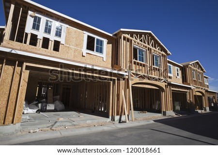 Multi family housing construction framing in the western United States.