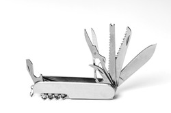 multi-function knife on white background close-up, mock-up, blank for your design