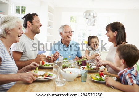 Shutterstock Multi Generation Family Eating Meal Around Kitchen Table