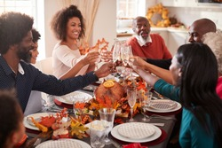 Multi generation mixed race family raise their glasses to make a toast at their Thanksgiving dinner table