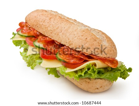 Multi-grain calabrese salami sandwich with lettuce, tomatoes and cucumbers