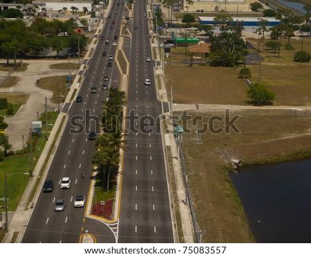 Multi-lane highway in Fort Lauderdale, FL - aerial view