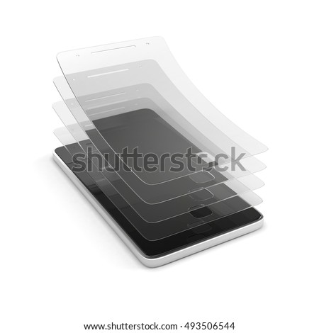 Multi layered covering for screen protection. Anti-scratch glass or film on a smartphone. 3d illustration isolated on a white background.
