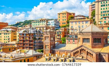 Multi-level achitecture in Genoa old town, Italy Photo stock ©