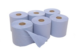 multi pack of six industrial sized blue paper towels against a pure white background.