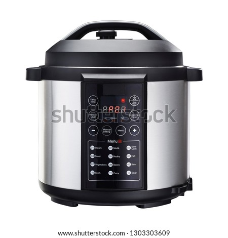 Multi Pressure Cooker Isolated on White Background. Front View Modern Stainless Steel 5 Qt. 12 Cook Settings Slow Cooker Multi-Cooker. Saute and Steamer. Electric Domestic Home and Kitchen Appliances