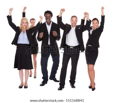 Multi-racial Group Of Business People Raising Arm Over White Background
