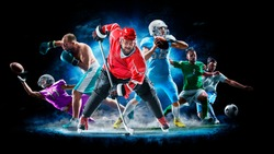 Multi sport collage football boxing soccer ice hockey on black background