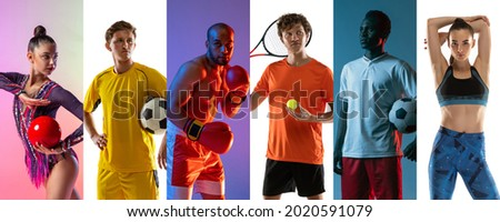 Multi sport collage. Football, tennis, soccer, box and gymnastics. Sportsmen isolated on multicolored backgrounds. Concept of sport, action, healthy lifestyle. Copy space for ad. Foto stock ©