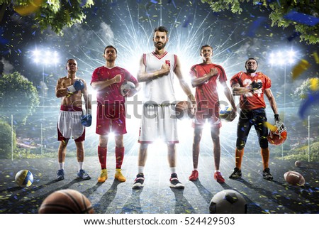 Multi sports collage boxing basketball soccer football volleyball #524429503