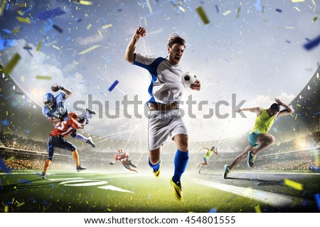 Multi sports collage soccer American football and running