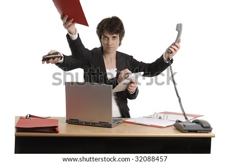 multi-task business woman - stock photo