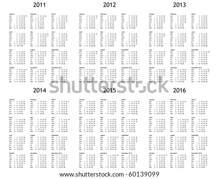 Multi year calendar 2011 2012 2013 2014 2015 2016 - stock photo