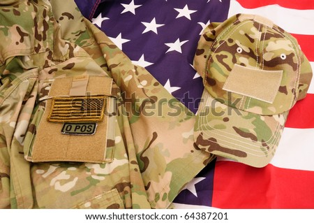 Multicam shirt and cap on US flag