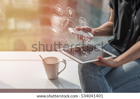 Multichannel online banking payment communication network digital 4.0 technology internet wireless application development mobile smartphone sync app: Business woman/ man holding smart phone icon flow #534041401