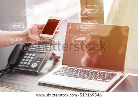 Multichannel online banking payment communication network digital technology via internet wireless application development mobile smartphone apps: Business woman man holding smart phone with icon flow
