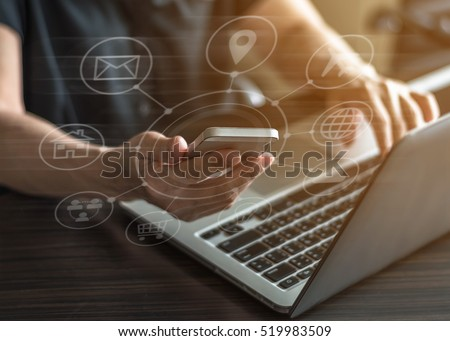 Multichannel online m-banking payment communication network digital 4.0 mobile smartphone IOT application: Business woman user using smart phone app buy things working on omnichannel SEO icon flow