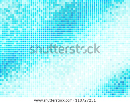 Multicolor Abstract Light Blue Tile Background. Square Pixel Mosaic