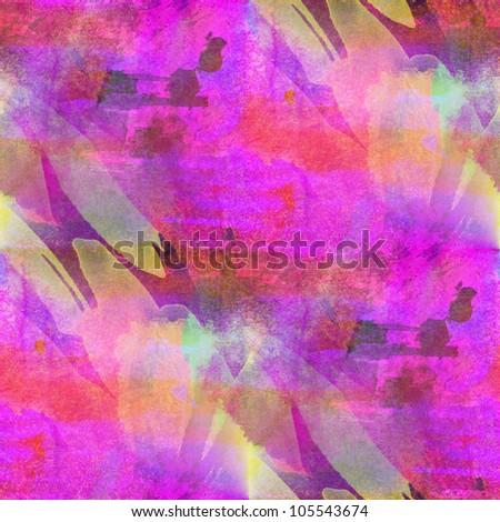 multicolor bright purple pink yellow seamless handmade watercolor