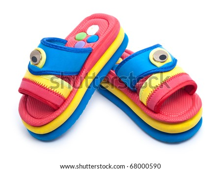multicolor child's sandals isolated on white background