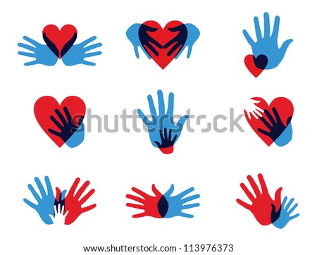 Multicolor creative diversity hands icon set.