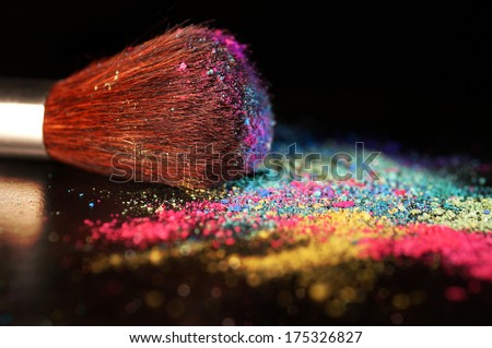 Multicolor crushed eyeshadow and brush