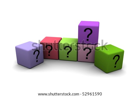 multicolor cubes with question-marks on white background
