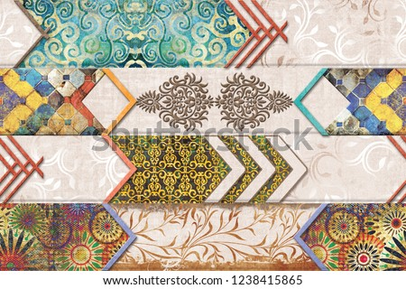Multicolor Digital Wall Tile Decor For interior Home or Ceramic wall tile Design. wallpaper, linoleum, textile, web page background.