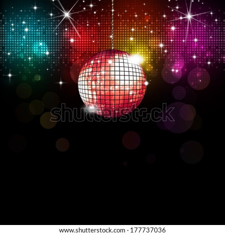 multicolor disco party music background with lights and blurs
