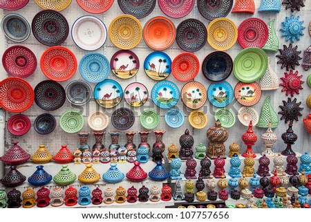 multicolor earthenware in tunisian market